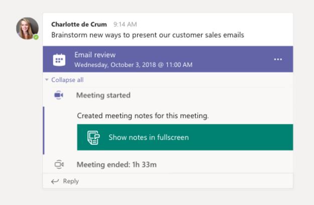 Notes Microsoft Teams