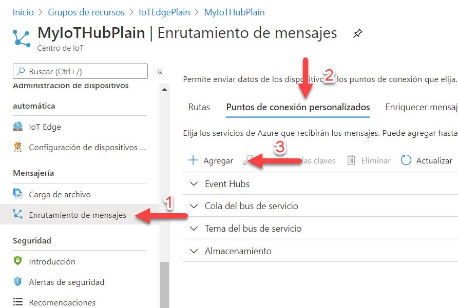 """La imagen señala con flechas y números los pasos. El primer paso es pulsar sobre el botón de enrutado de mensajes del menu lateral izquierdo. El segundo botón es la pestaña de """"Puntos de xonexión personalizados"""". El tercer botón es el de agregar."""
