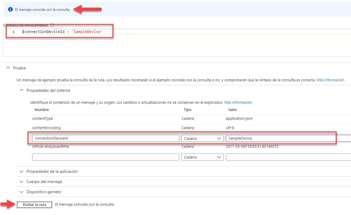 """La imagen muestra el formulario de IoT Hub donde se pueden añadir los valores que debería tener el mensaje para poder probar la consulta. También señala el mensaje de resultado donde dice : """"El mensaje coincide con la consulta"""""""