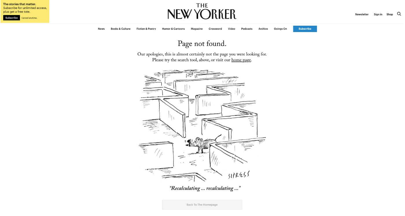Página de error de The New Yorker