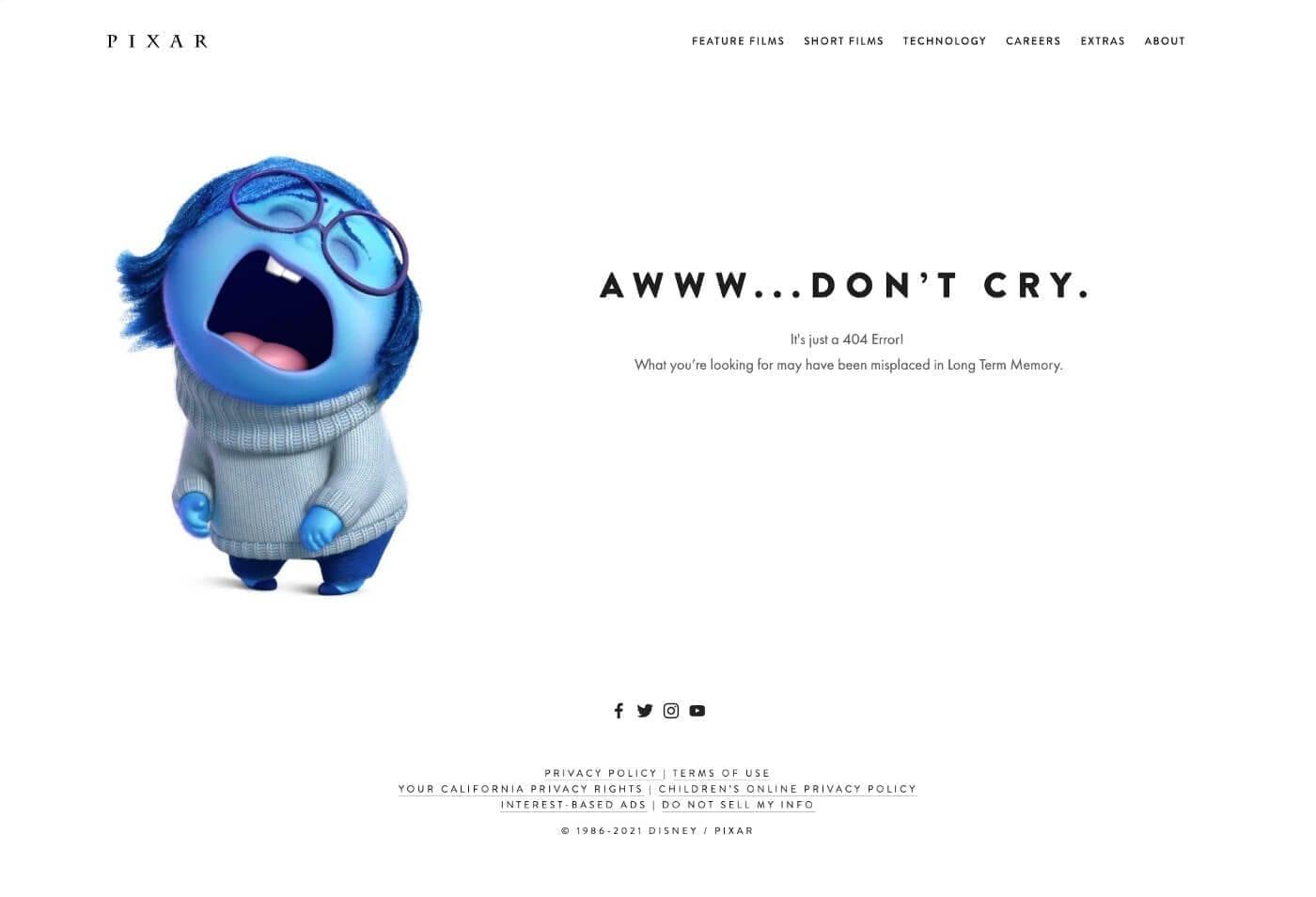 Página error Pixar