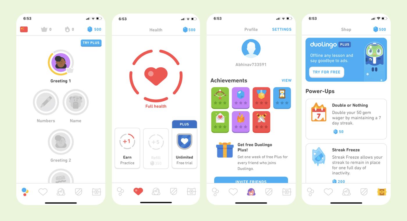 Pantallas App idiomas Duolingo
