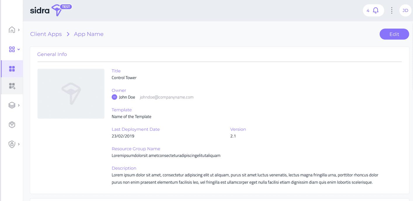 sidra data platform client app detail